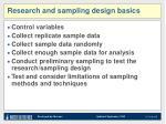 research and sampling design basics