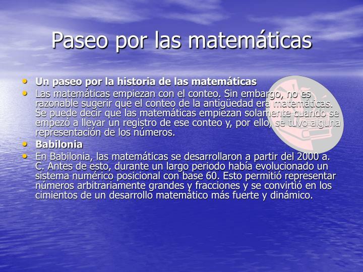 Paseo por las matemáticas