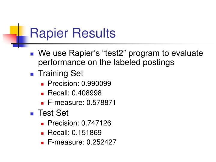 Rapier Results