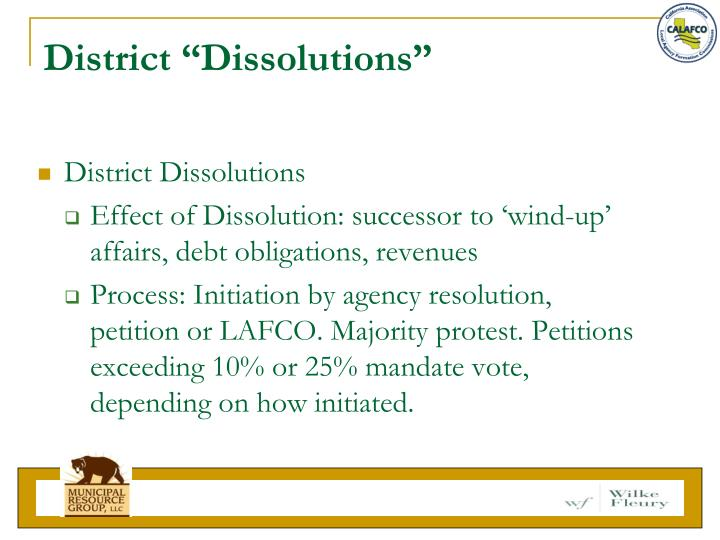 "District ""Dissolutions"""