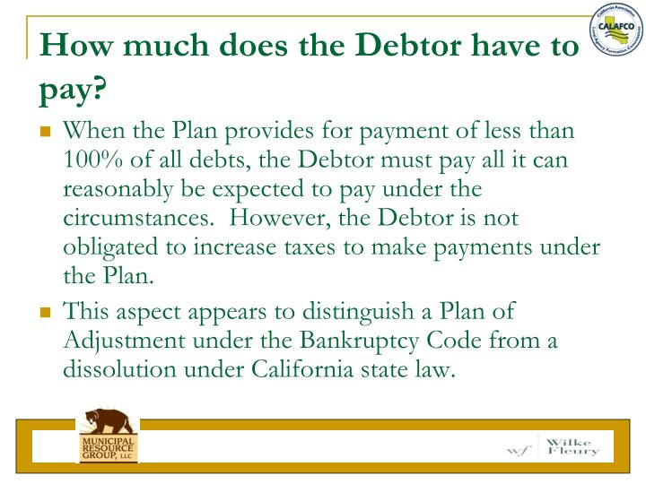 How much does the Debtor have to pay?