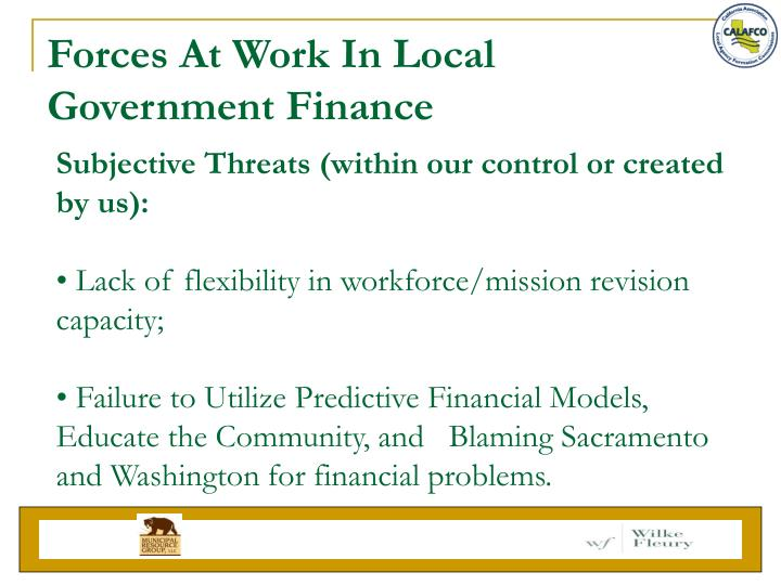 Forces At Work In Local Government Finance