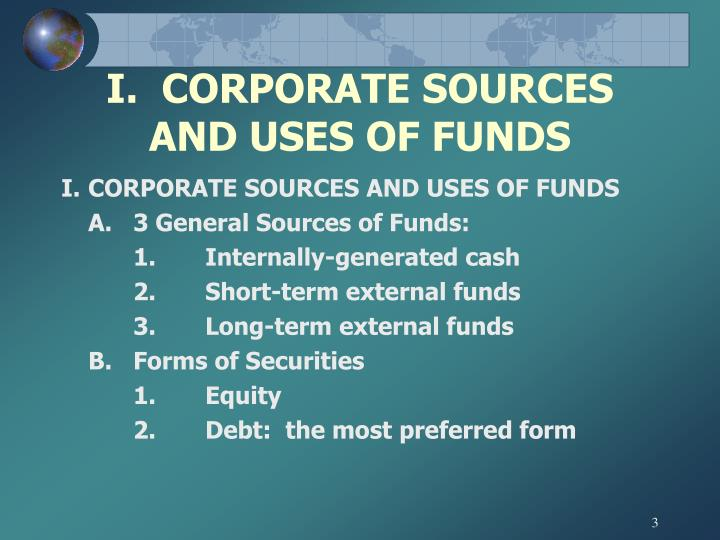 I.  CORPORATE SOURCES AND USES OF FUNDS