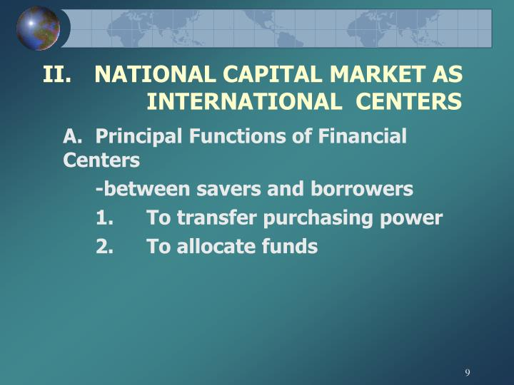 II.	NATIONAL CAPITAL MARKET AS