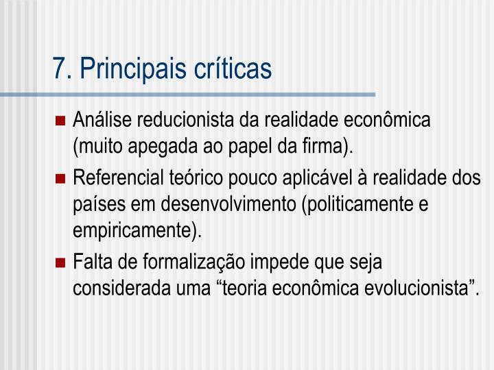 7. Principais críticas