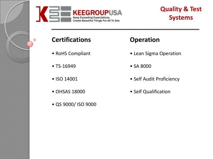 Quality & Test Systems