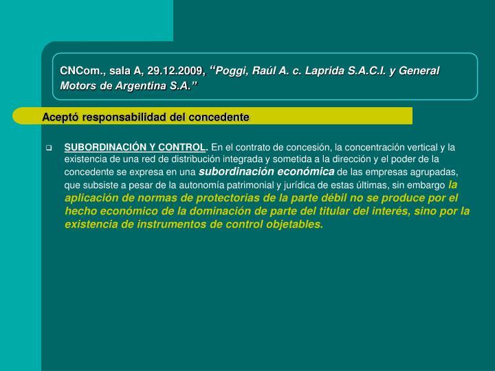 CNCom., sala A, 29.12.2009,