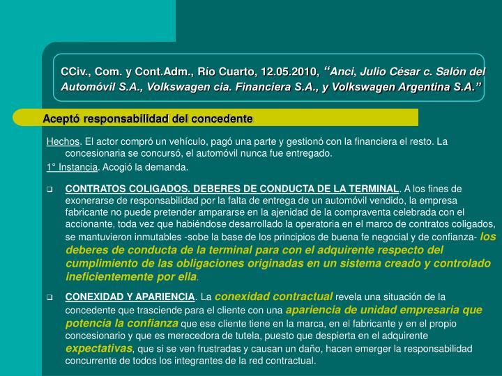 CCiv., Com. y Cont.Adm., Río Cuarto, 12.05.2010,