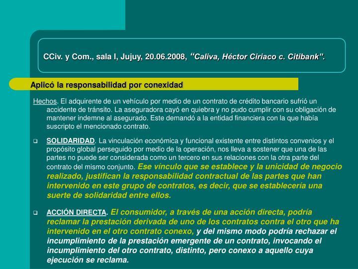 CCiv. y Com., sala I, Jujuy, 20.06.2008,