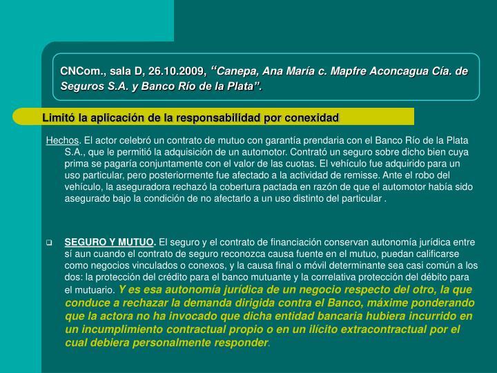 CNCom., sala D, 26.10.2009,