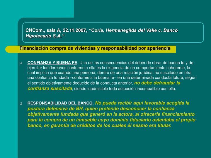 CNCom., sala A, 22.11.2007,