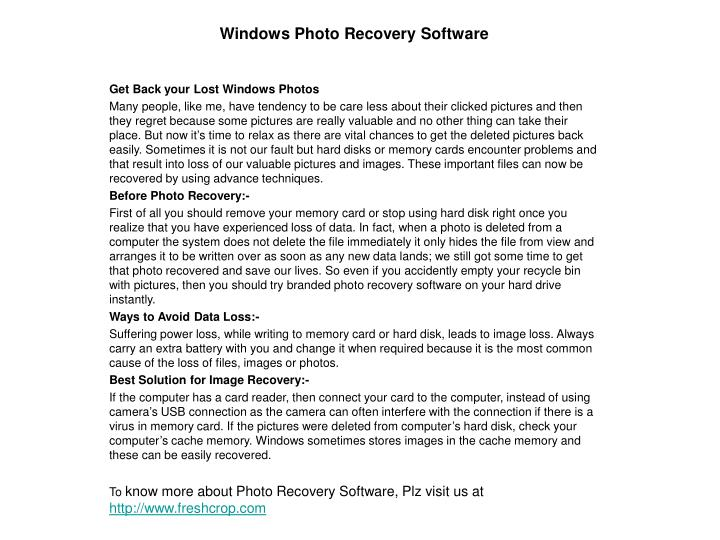 Windows photo recovery software