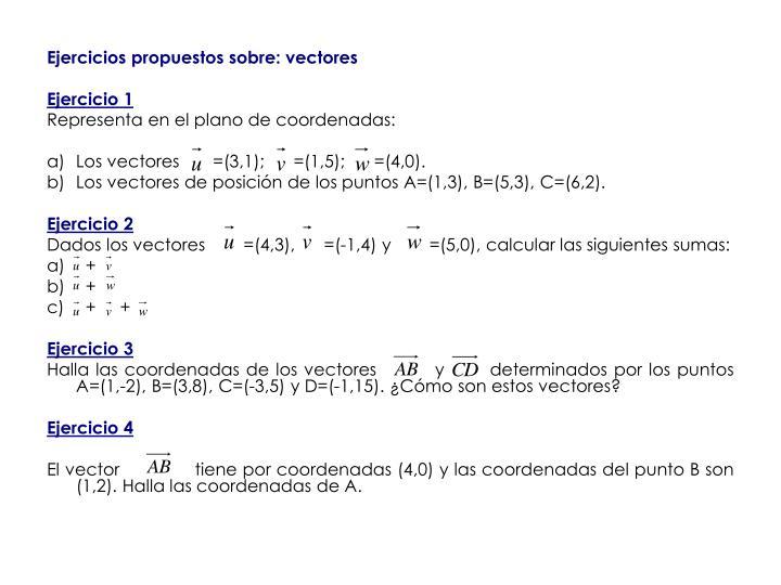 Ejercicios propuestos sobre: vectores