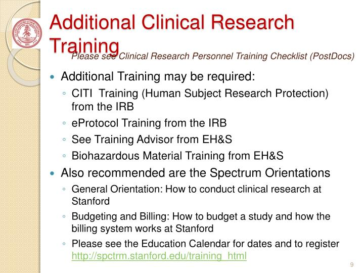 Additional Clinical Research Training