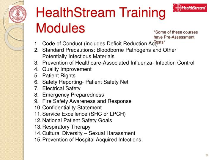HealthStream Training Modules