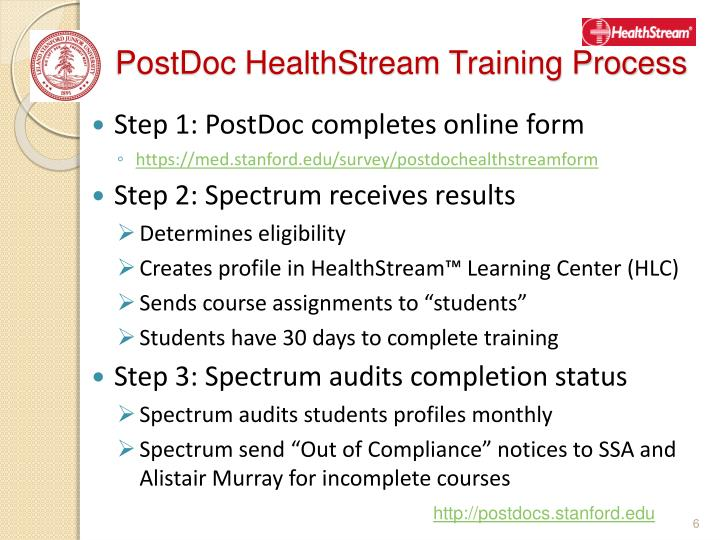 PostDoc HealthStream Training Process