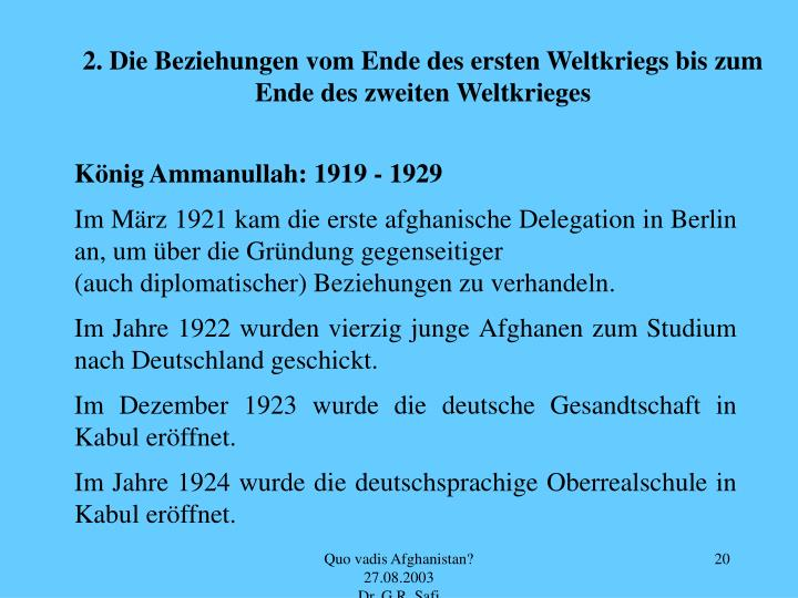 2. Die Beziehungen vom Ende des ersten Weltkriegs bis zum Ende des zweiten Weltkrieges