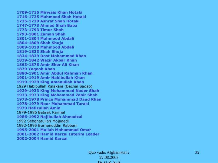 1709-1715 Mirwais Khan Hotaki