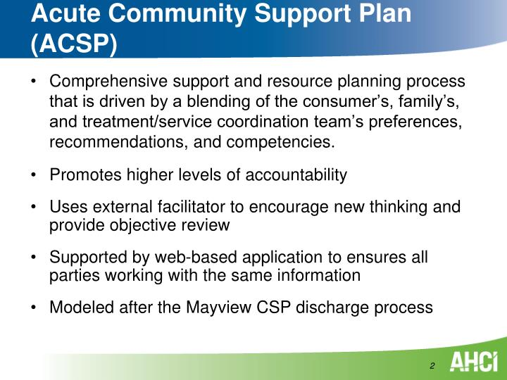 Acute community support plan acsp