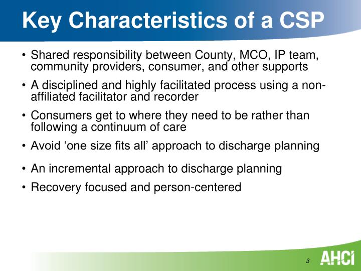 Key characteristics of a csp