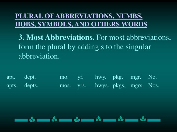 PLURAL OF ABBREVIATIONS, NUMBS, HOBS, SYMBOLS, AND OTHERS WORDS