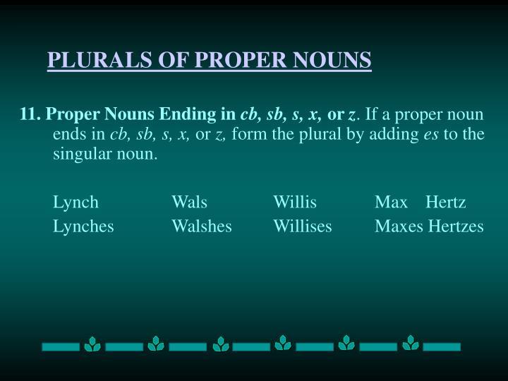 PLURALS OF PROPER NOUNS