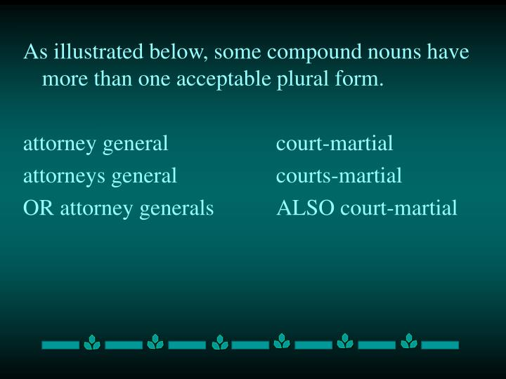 As illustrated below, some compound nouns have more than one acceptable plural form.