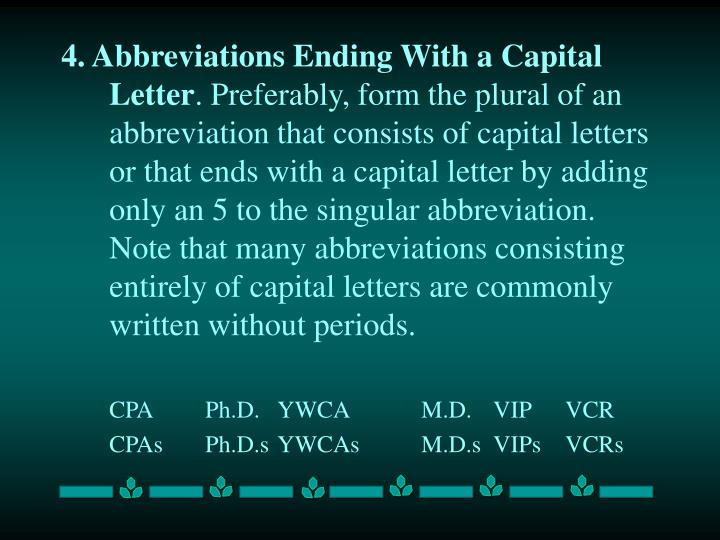 4. Abbreviations Ending With a Capital Letter