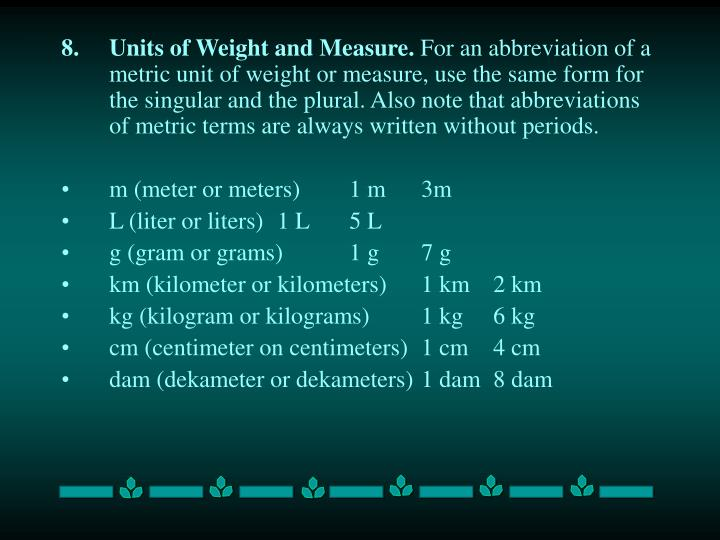 Units of Weight and Measure.