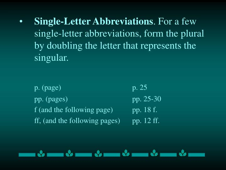 Single-Letter Abbreviations