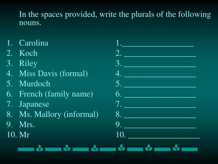 In the spaces provided, write the plurals of the following nouns.