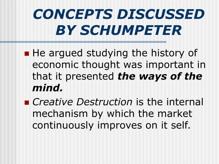 CONCEPTS DISCUSSED BY SCHUMPETER