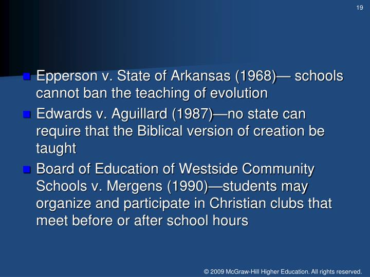 Epperson v. State of Arkansas (1968)— schools cannot ban the teaching of evolution