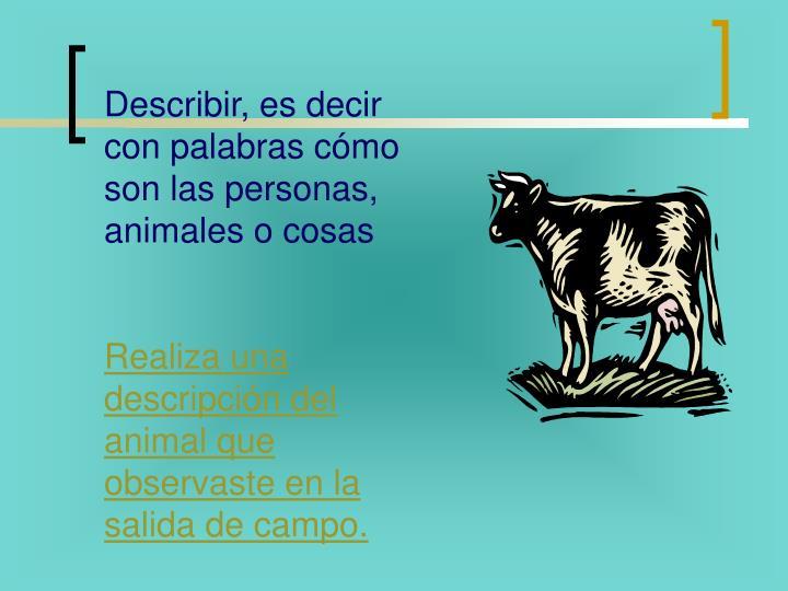 Describir, es decir con palabras cómo son las personas, animales o cosas