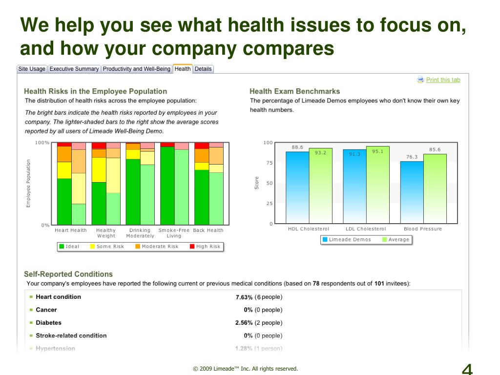 We help you see what health issues to focus on, and how your company compares