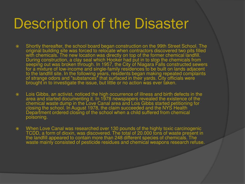 Description of the Disaster