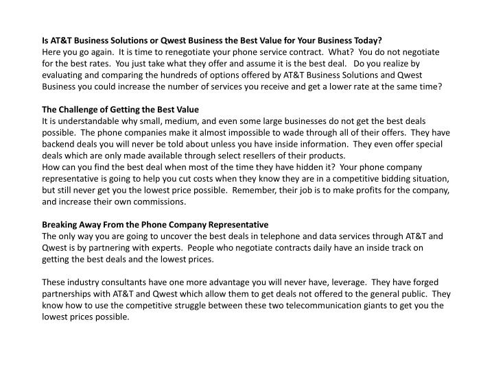Is AT&T Business Solutions or Qwest Business the Best Value for Your Business Today?