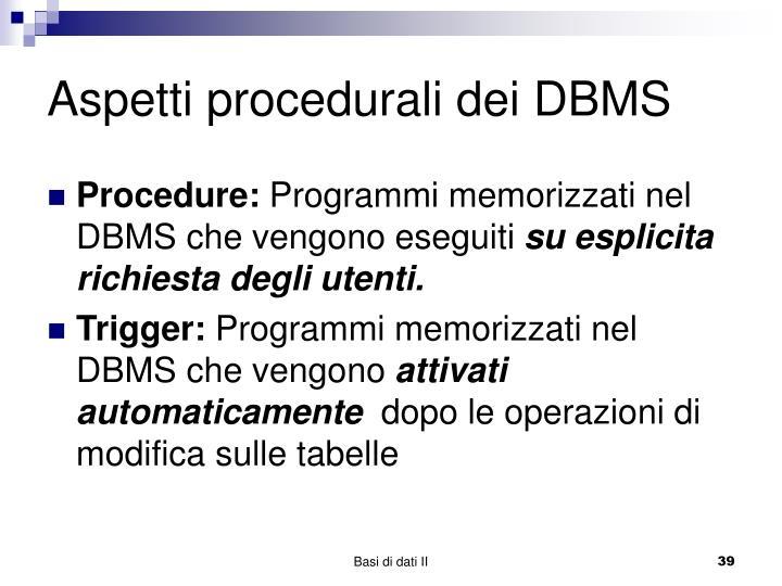 Aspetti procedurali dei DBMS