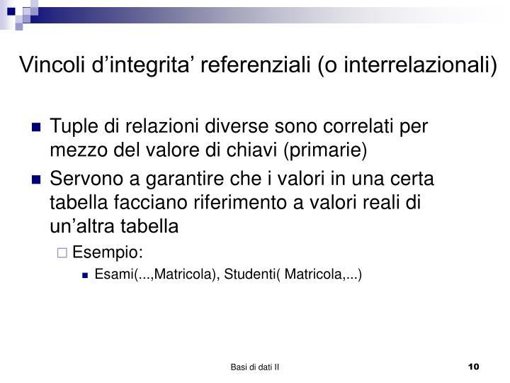 Vincoli d'integrita' referenziali (o interrelazionali)