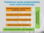 podstawowe zasady przeprowadzania oceny ryzyka zawodowego