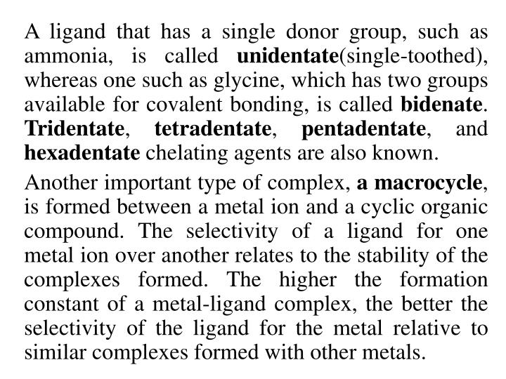 A ligand that has a single donor group, such as ammonia, is called