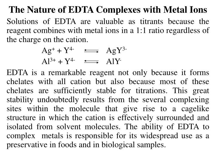 The Nature of EDTA Complexes with Metal Ions
