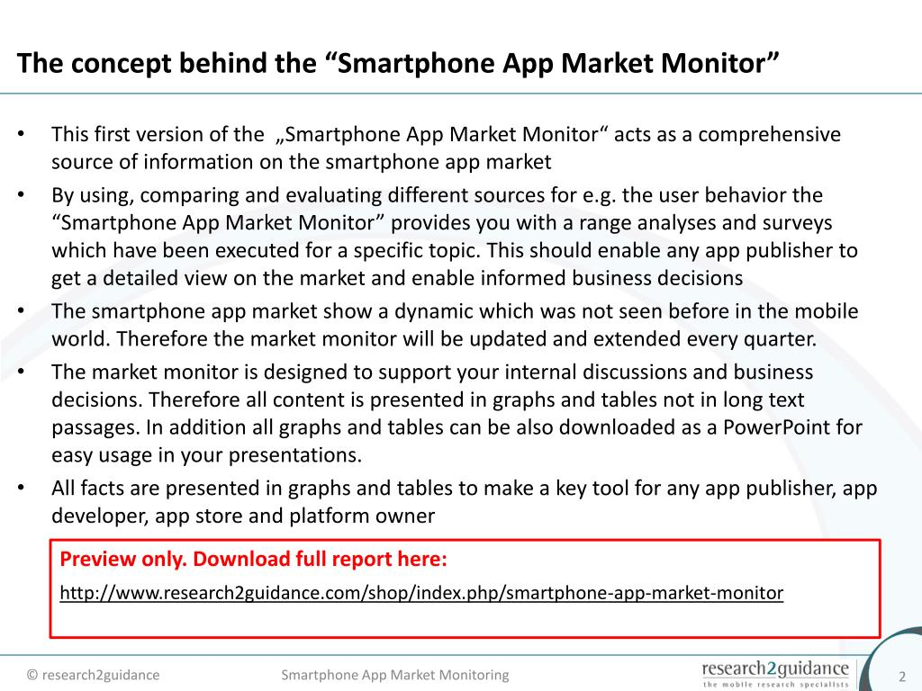 "The concept behind the ""Smartphone App Market Monitor"""