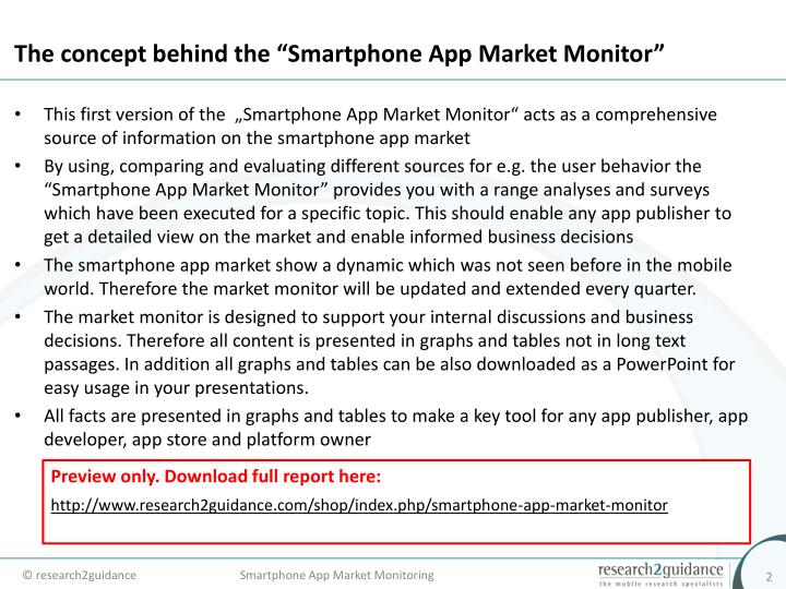 The concept behind the smartphone app market monitor