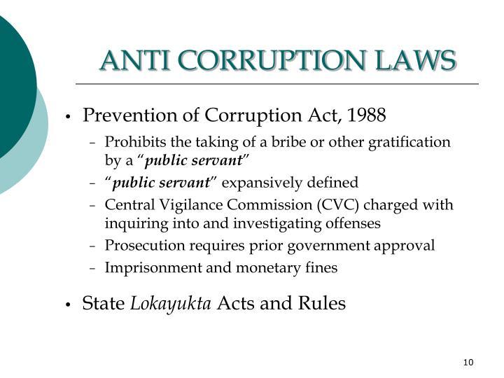 ANTI CORRUPTION LAWS