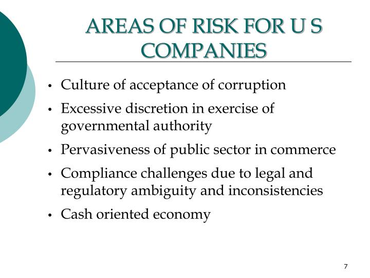 AREAS OF RISK FOR U S COMPANIES