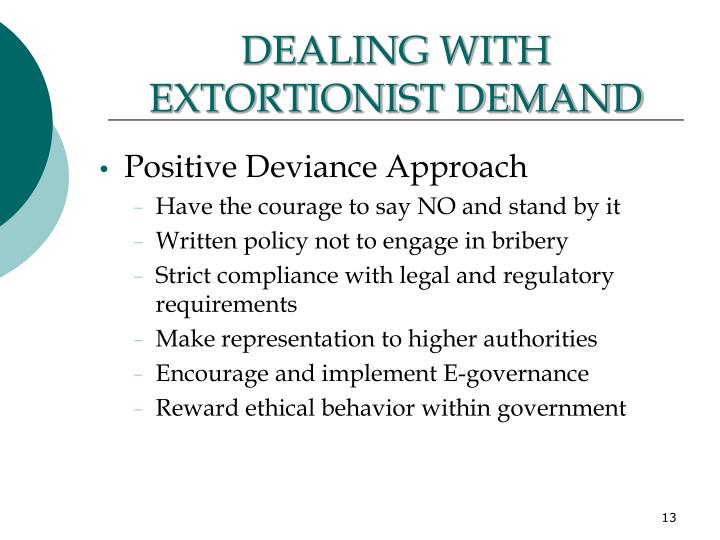 DEALING WITH EXTORTIONIST DEMAND