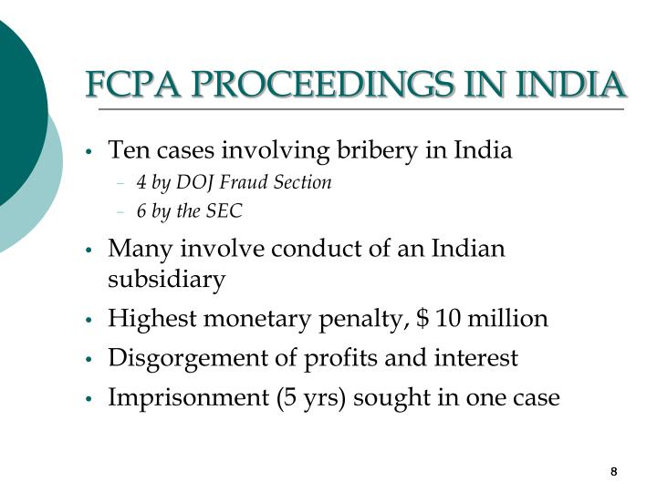FCPA PROCEEDINGS IN INDIA