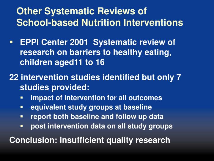 Other Systematic Reviews of