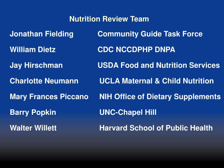 Nutrition Review Team